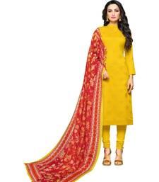 Yellow digital print cambric salwar