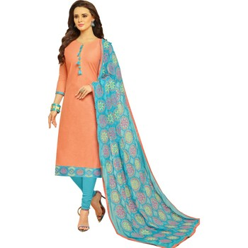 Peach & Sky Blue Cotton Women's Dress Material With Phulkari Dupatta