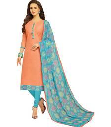 Peach & Sky Blue Cotton Women's Dress Material With Phulkari Dupatta