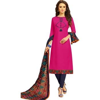 a7aa628656fb8 Rani Pink & Navy Blue Cotton Women's Dress Material With Phulkari Dupatta