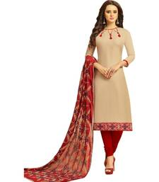 Buy Beige & Maroon Cotton Women's Dress Material With Phulkari Dupatta women-ethnic-wear online