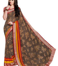 Buy Brown printed viscose saree with blouse viscose-saree online