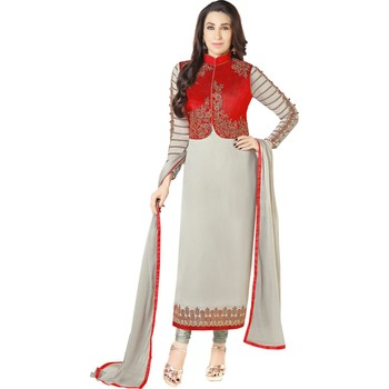 New Designer Gray & Red Faux Georgette Embroidered Kotistyle Salwar Suit