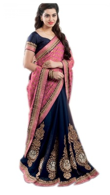 Pink embroidered viscose saree with blouse