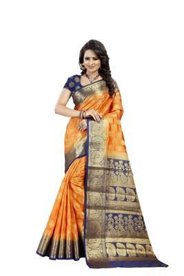 Orange Woven Art Silk Banarasi Saree With Blouse