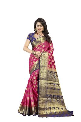 Pink Woven Art Silk Banarasi Saree With Blouse