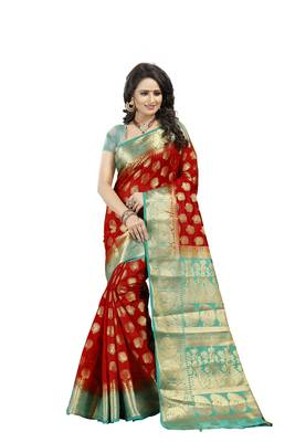 Red Woven Art Silk Banarasi Saree With Blouse