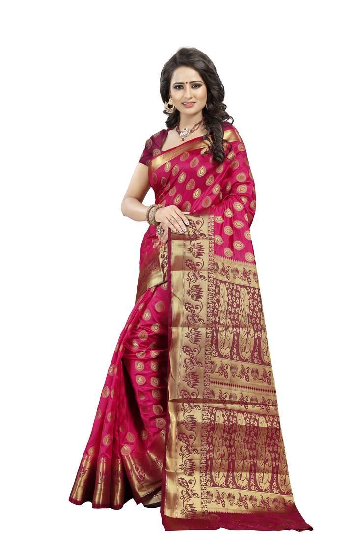 96f03e43133388 Peach Woven Art Silk Banarasi Saree With Blouse - Fab Woven - 2679517