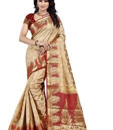 Buy Beige Woven Art Silk Banarasi Saree With Blouse banarasi-saree online