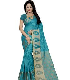 Light Green Woven Cotton Banarasi Saree With Blouse indian-dress