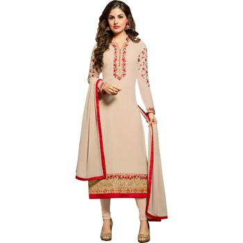 Latest Beige Georgette Embroidered Salwar Suit For Women