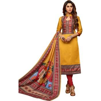 Mustard digital print silk salwar with dupatta
