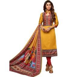 Buy Mustard digital print silk salwar with dupatta dress-material online