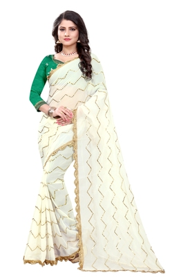 White Embroidered Georgette Saree With Blouse