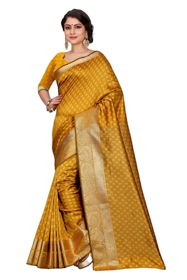 Yellow Woven Saree With Blouse