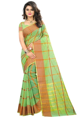 Parrot Green Woven Art Silk Saree With Blouse