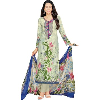 Multicolor Glaze Cotton Printed & Embroidered Women's Salwar Suit