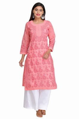 Peach embroidered cotton chikankari-kurtis