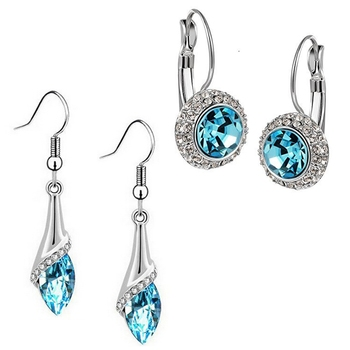 Blue crystal combo-earrings