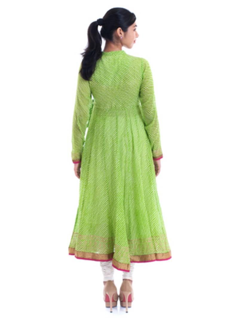 Buy Ethnic Cotton Green Angrakha Anarkali Kurta Online