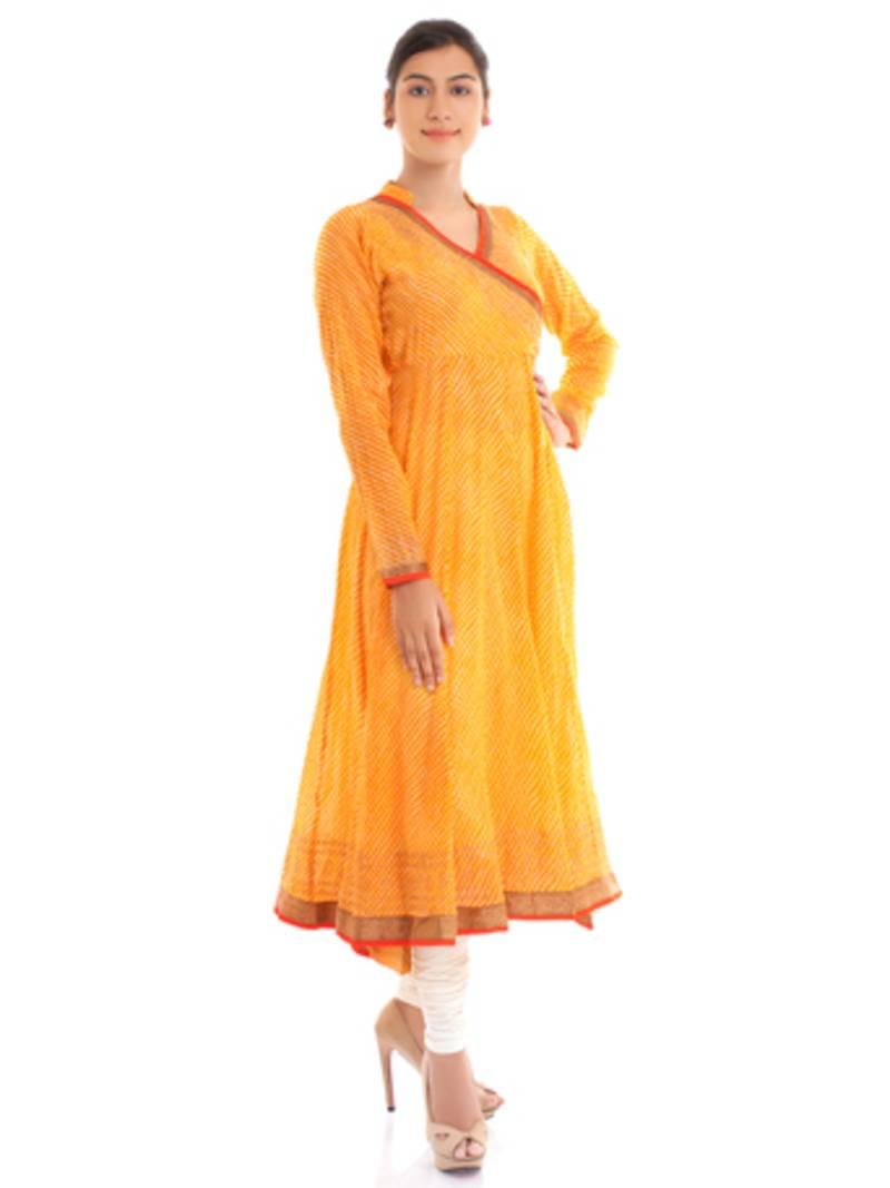 Buy Ethenic Cotton Yellow Angrakha Anarkali Kurta Online