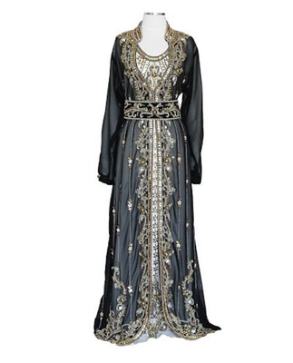 Black And off white Georgette Islamic Kaftan With Zari And Stone Work
