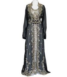 Black And off white Georgette Islamic Kaftan With Zari And Stone Work
