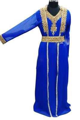 Royal Blue Georgette Islamic Kaftan With Zari And Stone Work