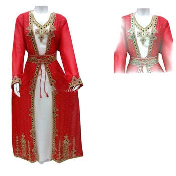 Red And Off  White Georgette Islamic Kaftan With Zari And Stone Work