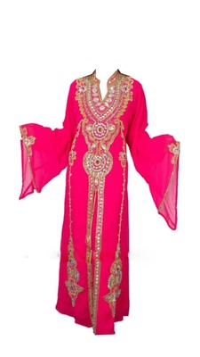 Pink Georgette Islamic Kaftan With Zari And Stone Work
