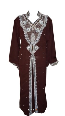 Brown Georgette Islamic Kaftan With Zari And Stone Work