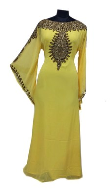 Yellow Georgette Farasha With Zari And Stone Work