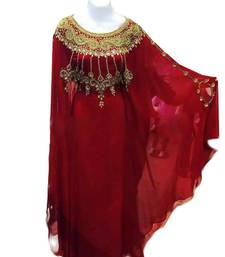 Maroon Georgette Farasha With Zari And Stone Work