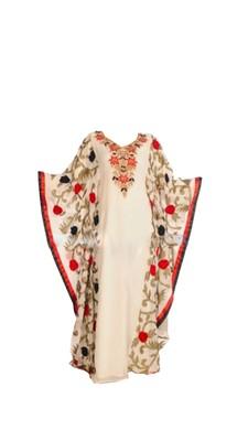 White Georgette Farasha With Machine Work Embroidery