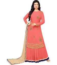 Buy Peach & Beige Cotton Embroidered Women's Indo Western Suit women-ethnic-wear online