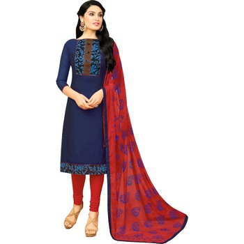 Blue & Red Chanderi Cotton Printed Women's Salwar Suit
