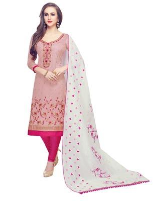 Baby-pink embroidered cotton salwar