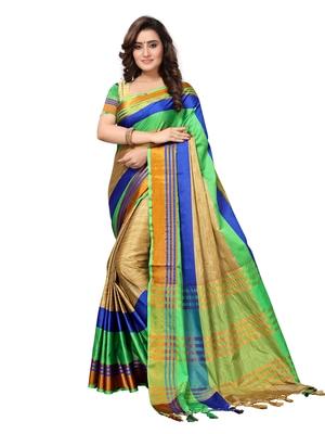 Multicolour  Woven Art Silk Saree With Blouse