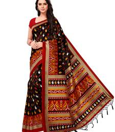 Buy Black printed art silk saree with blouse women-ethnic-wear online