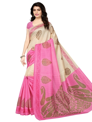Pink with beige  printed art silk saree with blouse