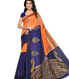 Buy Orange printed art silk saree with blouse women-ethnic-wear online