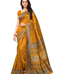 Buy Yellow printed art silk saree with blouse women-ethnic-wear online