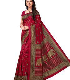 Buy Maroon printed art silk saree with blouse women-ethnic-wear online