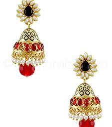 Buy Ruby Red Traditional Jhumki Earrings jhumka online