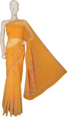 Yellow embroidered faux georgette saree with blouse