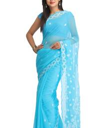 Buy Blue embroidered faux georgette saree with blouse chikankari-saris online