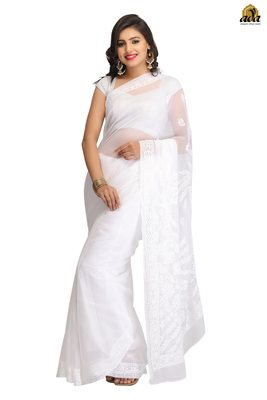 White Embroidered Faux Georgette Saree With Blouse