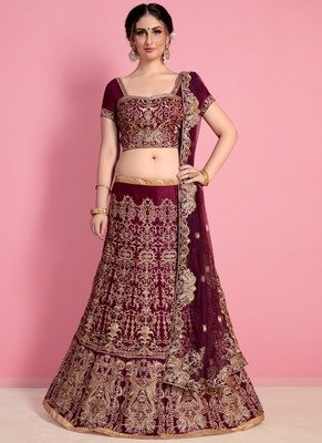 Wine Velvet Embroidered Lehenga With Dupatta