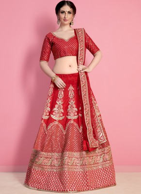 Red Art Silk Embroidered Lehenga With Dupatta