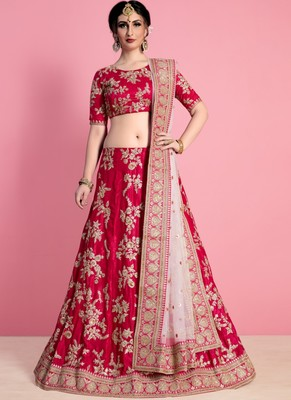 Rani Pink Velvet Embroidered Lehenga With Dupatta